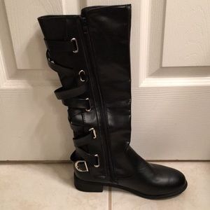 Shoes - Black knee high boots w/ strap lacing & zippers.